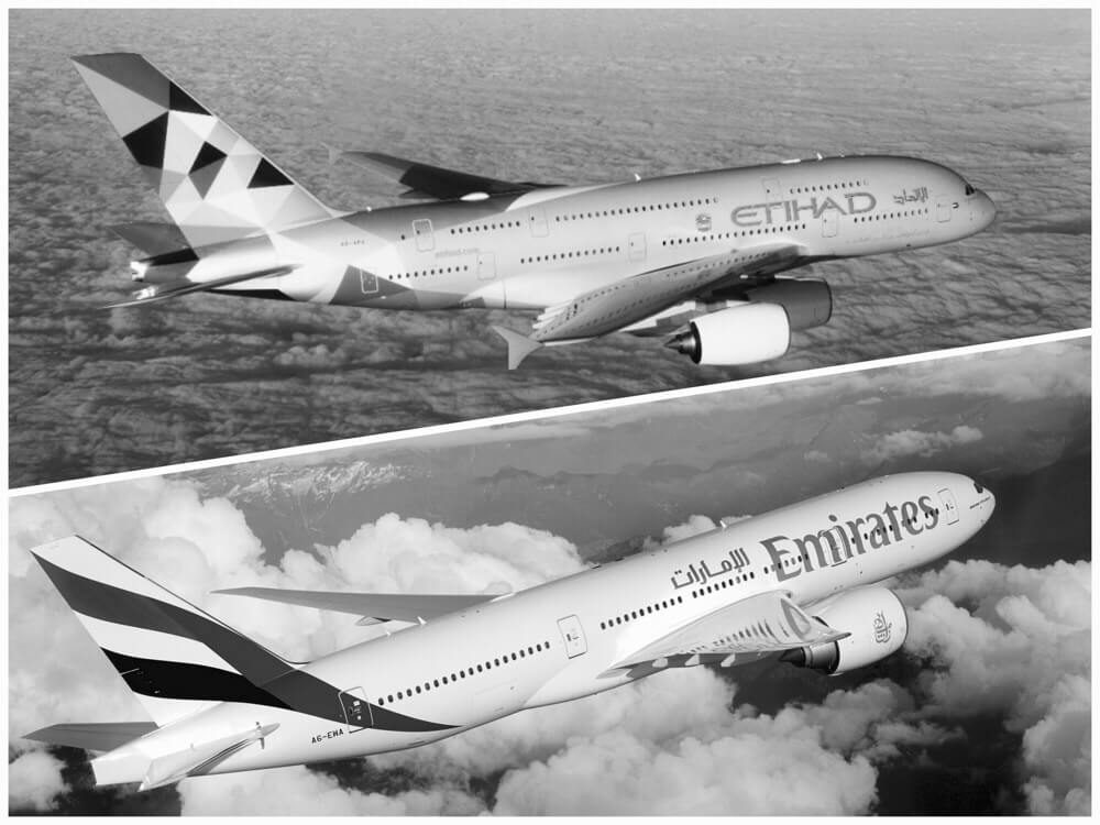 エティハド航空とエミレーツ航空、明日6月6日より全てのドーハ便の運航停止を発表!!